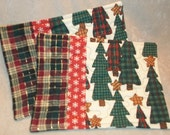 Earth Tones Mug Rugs with Primitive Trees, Snowflakes and a Plaid