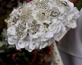 Crystal Hydrangea Brooch Bouquet - MEDIUM- Wedding Bouquet - Bridal Bouquet