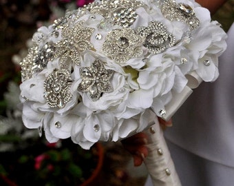 Crystal Hydrangea Brooch Bouquet - SMALL- Wedding Bouquet - Bridal Bouquet