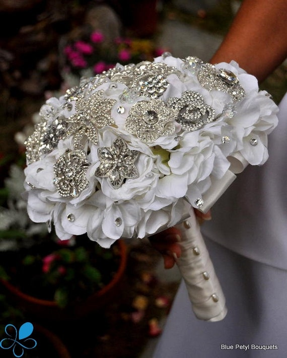 Not a Deposit - Crystal Hydrangea Brooch Bouquet - LARGE - Wedding Bouquet - Bridal Bouquet
