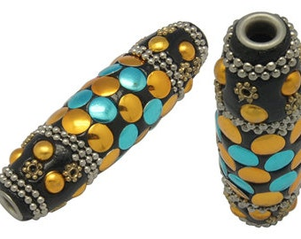 "2 Unique Large TUBE Multicolor Indonesian Clay Beads, Rhinestuds and Bali Accents, turquoise, gold, black, 2-3/8"" long, pol0010"