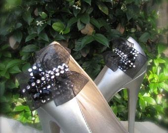 Wedding Shoe Clips black retro bow