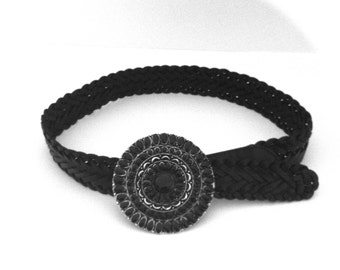 Vintage Black Braided Leather Belt