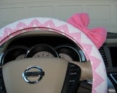 Steering Wheel Cover Bow, Petite Rose Pink Chevron Steering Wheel Cover with Pink Bow, Pink Flannel Chevron Cover Alternate Cut BF11180
