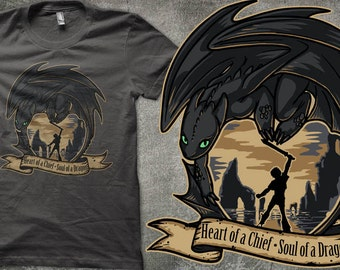 PLUS SIZE -- Toothless Hiccup Heart of a Chief, Soul of a Dragon - How To Train Your Dragon 2