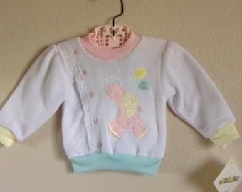 80's Pastel Giraffe & Bear Sweat Shirt NWT