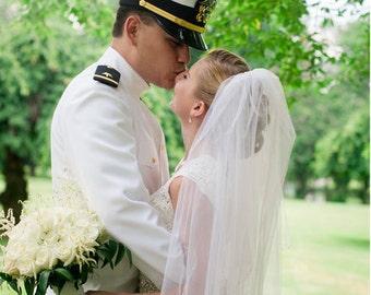 Wedding Veil Pearl Fingertip Circular Cut White/IvoryVeil/ Diamond White/Blush Two Tier Bridal Veils