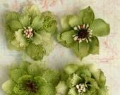 "Green Burlap Flowers -Set of 4 fabric flowers 2""  blossoms 1200-214 headband flowers hat rustic flowers wedding decorations scrapbooking"