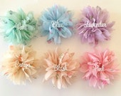 """Floral Rose Spray Printed Chiffon Fabric Flower Puffs 2.5""""  YOU PICK COLORS shabby sheer chiffon pleated ruffled flowers wholesale flowers"""