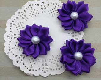 "Small Purple Fabric Flowers (6 pcs)  - 1.5"" Petite Satin flowers with pearl centers  Sweetheart accent flowers embellishment DIY flowers"
