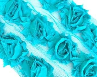 "Teal Blue Petite Shabby Rose Trim 1.5"" small Shabby Flowers Mini Shabby Chiffon Flowers -1 yard shabby Flower Shabby Chic Trim Wholesale 3cm"