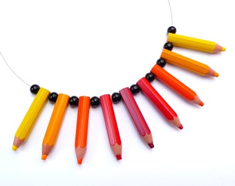 Funny upcycling Necklace - PENCILMANIA - Red, Orange & Yellow - Recycling Necklace Eco friendly made with real pencils - geekery, geeky, art