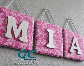 Pink Floral Fabric Upholstered Letter Plaque - Custom Wall Hanging for Baby & Girls Room with Painted Wood Letter - Monogram, Initials, Name