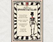 printable halloween party invitation digital file editable PDF instant download skeleton DIY invite spooky scary skull - spooktacular