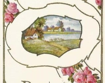 Pretty Pink Country Rose Country Cottage Lake Scene  Vintage Postcard Best Wishes 1910