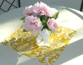 Yellow Damask Table Square Topper for Wedding Decor, Birthday Parties, Party Decor, Holidays