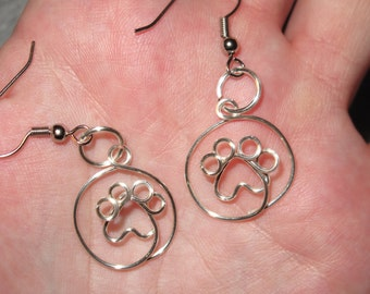 Wire Wrapped Paw Print MADE to ORDER Earrings
