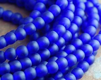 Matte Frosted Cobalt Blue Druk Beads Czech Glass 4mm Round -100 Czech Beads