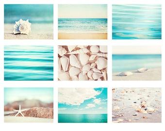Aqua Blue Beach Photography Set - 9 ocean nautical prints, cream beige white, coastal sea gallery wall art, seashore photos seashell decor