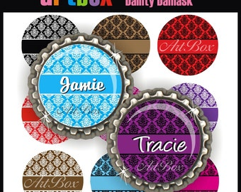 Editable Dainty Damask Bottle Cap Images - 4x6 Digital Jpeg File Collage Sheet - BottleCap One Inch Circles