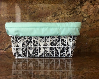 Turquoise Mint Damask Bicycle Basket Liner with Pocket