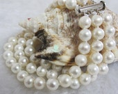 Pearl Bracelet -8 Inches 6-8mm 3Row White AA Freshwater Pearl Bracelet D- Free Shipping