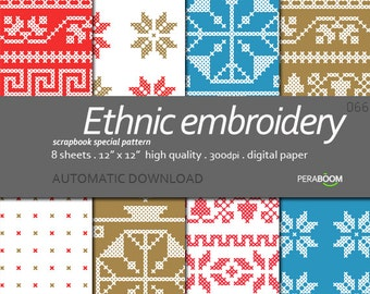 Embroidered Digital Paper Cross Stitch Scrapbook Paper Pack Printable Stitches Ethnic DOWNLOAD JPG