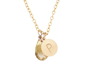 """Hand Stamped """"P"""" Initial Necklace in Lemon Quartz & 14k Gold Fill *Free Shipping*"""