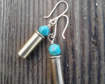Shell Casing Jewelry Bullet Earrings 22 Caliber Turquoise