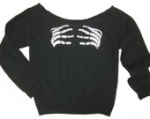 Womens Custom Altered Scoop Slouchy Tunic Skeleton Hands Fleece Sweater Pullover Sweatshirt - Sizes S M L  and XL