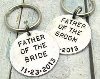 Father of the Bride and Groom Personalized Keychains - Hand Stamped Keychain - Personalized Wedding Gift - Personalized Keychain