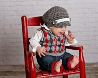 Newsboy Baby Boy Cap Crochet Hat  Photo prop Ready Item