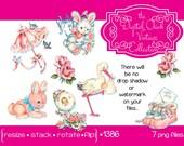 Digital Clipart, instant download, vintage baby clip art, cute baby babies images rattle stork rabbit lamb booties, printable png files 1386