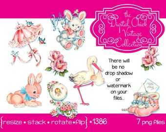 Digital Clipart, instant download, vintage baby clip art, cute baby babies images rattle stork rabbit lamb booties, printable png files 1386