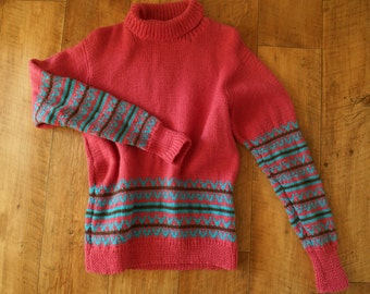 Pretty Spring fairisle in pink, deep turquoise and brown very good condition L
