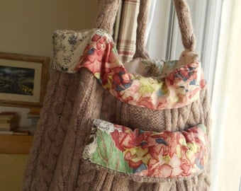 SALE Handknitted felted taupe cable tote bag with designer fabric trim and floral cotton lining