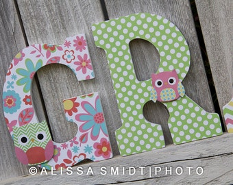Custom Nursery Wooden Letters, Baby Girl Nursery - Owl Theme Custom Letters, 9 inch Size