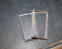 50 -NEW SIZE Rectangle Clear Glass 24mm x 50mm cabochons -smooth glass gems for pendants - magnets