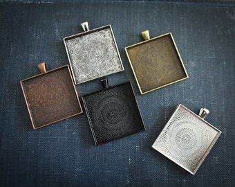24 - Extra Large 35 mm Square Blank Photo Pendant Trays customizable blank Settings LEAD FREE