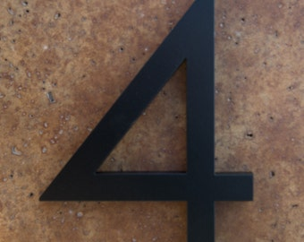 Modern House Number Aluminum Modern Font Number FOUR 4 in Black