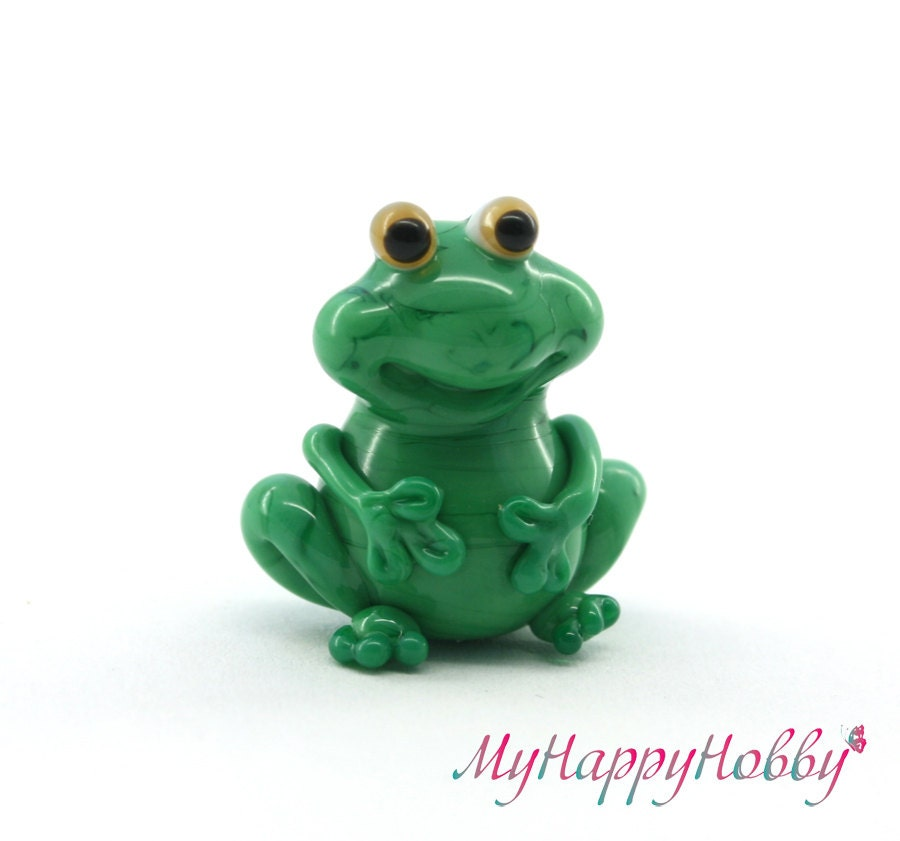 glass lwork green frog bead sculpture by myhappyhobby