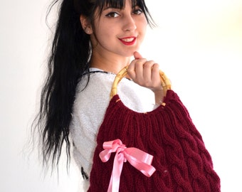 Knitted  Handbag / everyday bag Handmade Bag,Moms Gift,Fashion Week,fashion,hibbe,spring fashion -children
