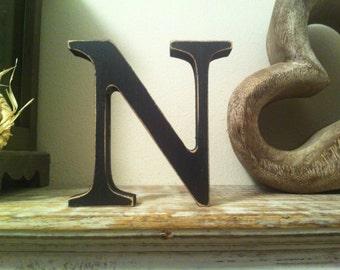 Freestanding Wooden Letter 'N' - Georgian Style - 25cm, Various Finishes