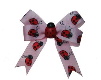 Cute Pink Ladybug Hair Bow