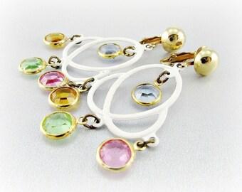 Vintage Love Knot Earrings, White Enamel, Pastel Bezel Set Crystals, Long Dangle Earrings, Clip-on Earrings, 1960s Mad Men Costume Jewelry