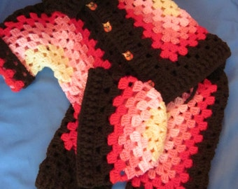 Handmade Multi Color Baby Crochet Cardigan, Pants and  Hat set with Owl buttons.