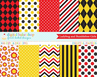 ladybug  lady bug bee bumblebee papers - Ladybug and Bumblebee Girls Digital Papers