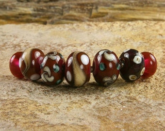Ruby Red Lampwork Glass Beads - SRA - USA (SW02)