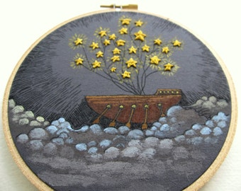 Embroidery Hoop Art - Star Sailing - Original Painting with Embroidery - Dreamy Wall Art