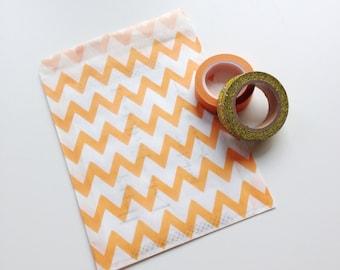 "Orange Chevron Treat Bag 5"" x 7"" Kraft Paper Food Safe Recyclable Favor Bags Bright Orange Chevron"